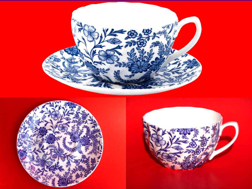 feine bone porzellan tasse teller jumbo teetasse kaffetasse 5371 blaue blumen. Black Bedroom Furniture Sets. Home Design Ideas