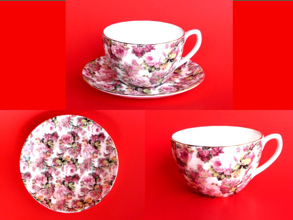 fine bone porzellan tasse teller mit gold jumbotasse teetasse 5371 rosenchintz ebay. Black Bedroom Furniture Sets. Home Design Ideas