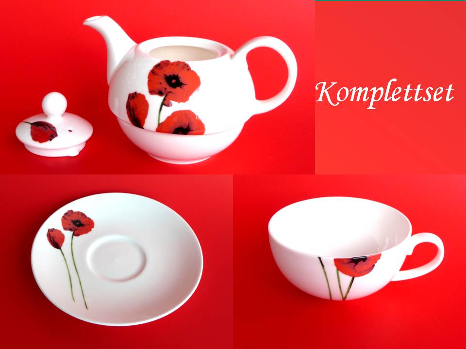 fine bone porzellan tasse teller teetasse teekannenset komplett 5444 mohnblumen ebay. Black Bedroom Furniture Sets. Home Design Ideas