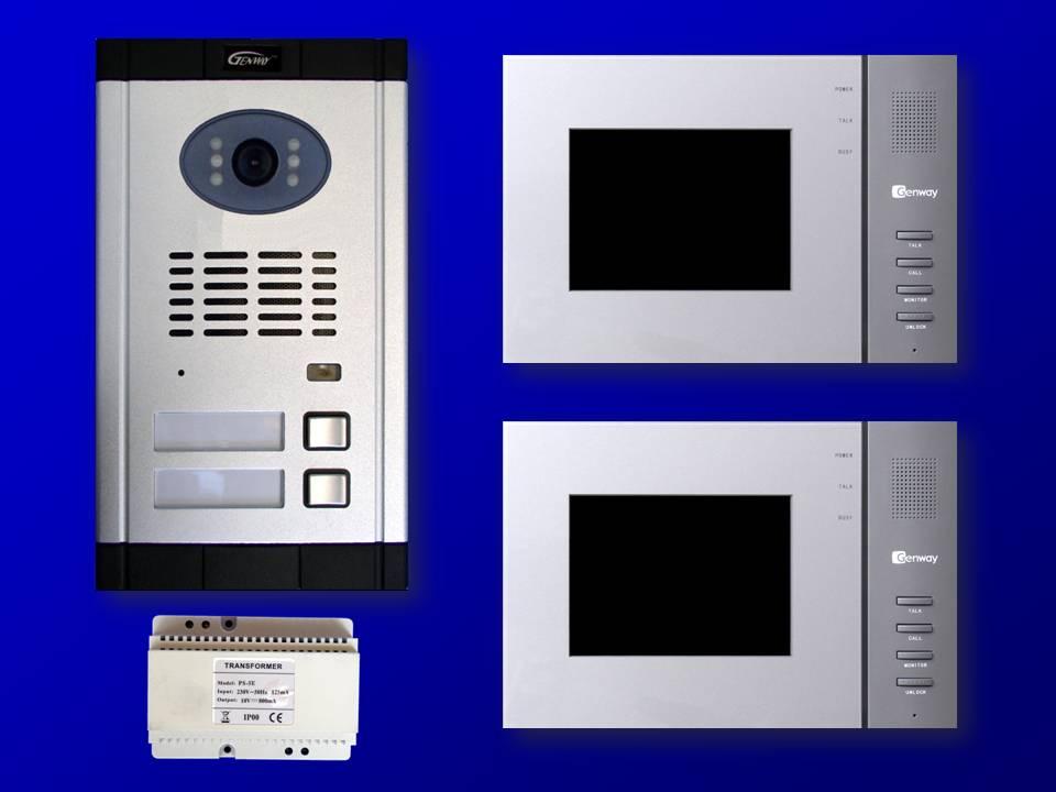 farb video t rsprechanlage gegensprechanlage klingel f r zweifamilienhaus d2 2i ebay. Black Bedroom Furniture Sets. Home Design Ideas