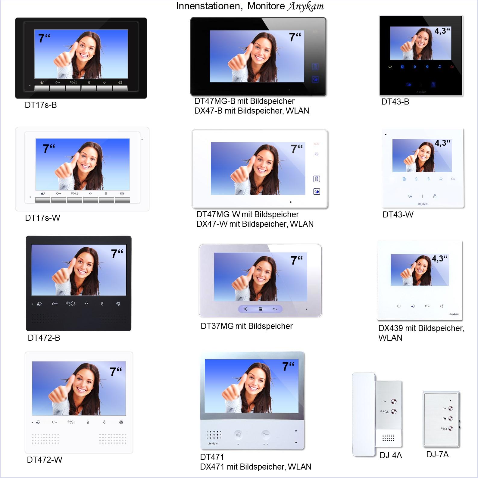 Videosprechanlagen mit 2 Draht technik, Monitore verschiedene Designs