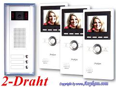 S3+DT16 Video Türsprechanlage Videosprechanlage Türklingel 3-Familienhaus 2Draht