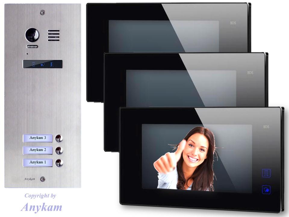 video t rsprechanlage edelstahl 2draht videosprechanlage 3 wohnungen es3 dt47mb ebay. Black Bedroom Furniture Sets. Home Design Ideas