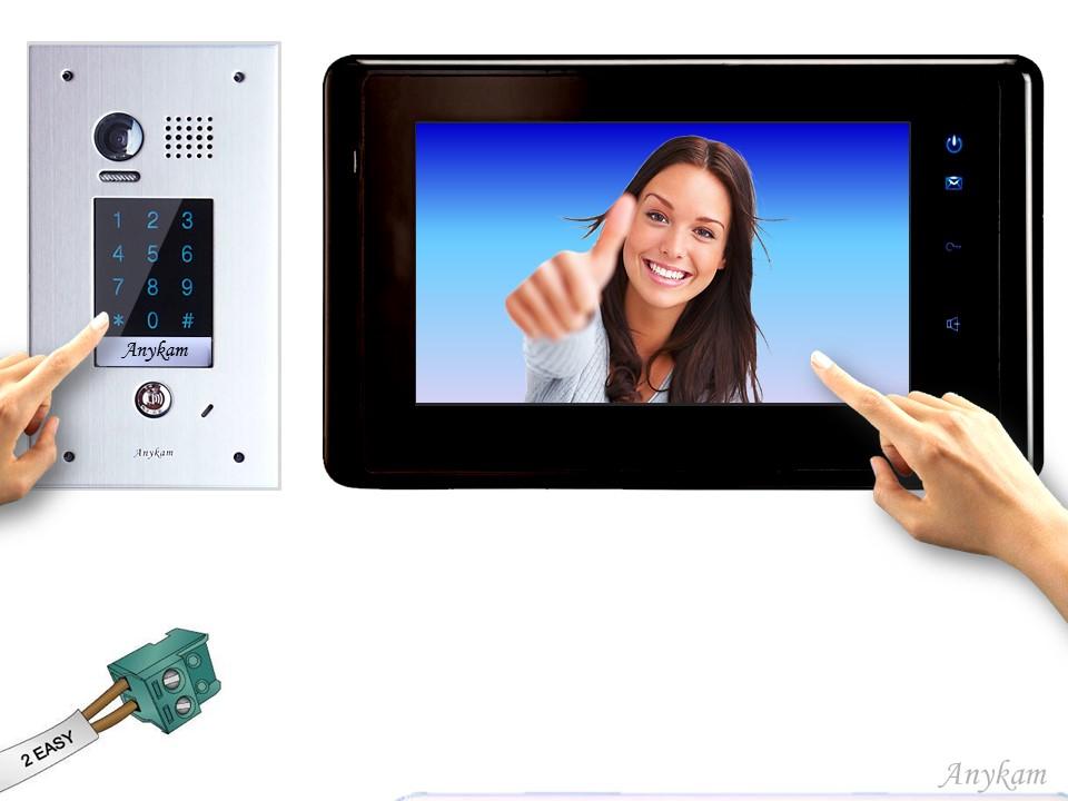 anykam design farb video t rsprechanlage mit keypad und edelstahl t rklingel videosprechanlage. Black Bedroom Furniture Sets. Home Design Ideas