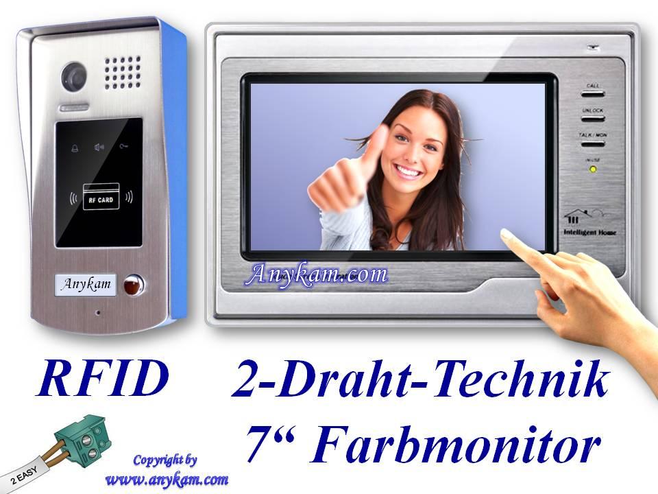 video t rsprechanlage 2draht gegensprechanlage t rklingel rfid chip aufputz 692 ebay. Black Bedroom Furniture Sets. Home Design Ideas