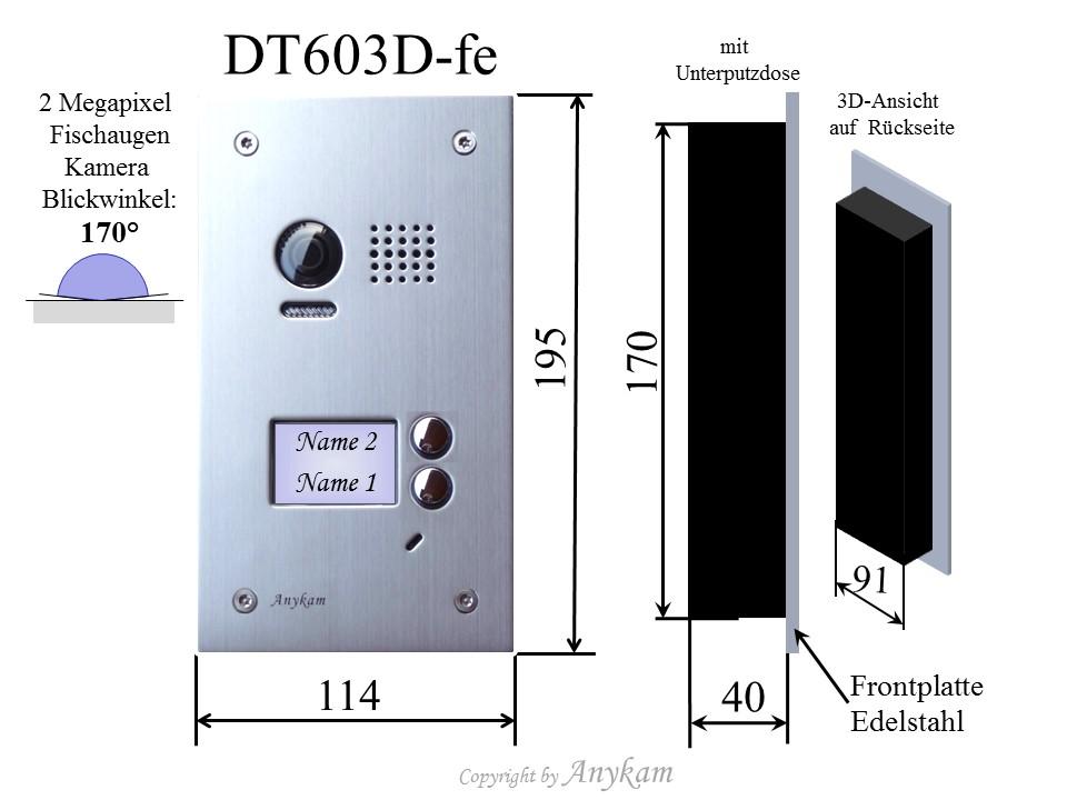 2 draht video t rsprechanlage 2 familien 603d 2x dt47m. Black Bedroom Furniture Sets. Home Design Ideas
