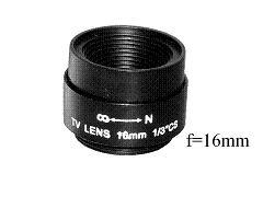 Objektiv C16, Fixfocal, f=16mm, fix iris, CS-mount für Überwachungskameras