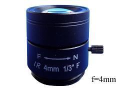 Objektiv MP4 Fixfocal, f=4mm fix iris Megapixel CS-mount für CCTV Kameras