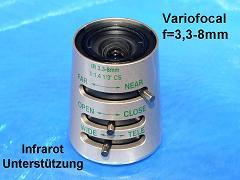 Objektiv TN3308-IR Vario f=3,3-8mm IR-Unterst. Man iris