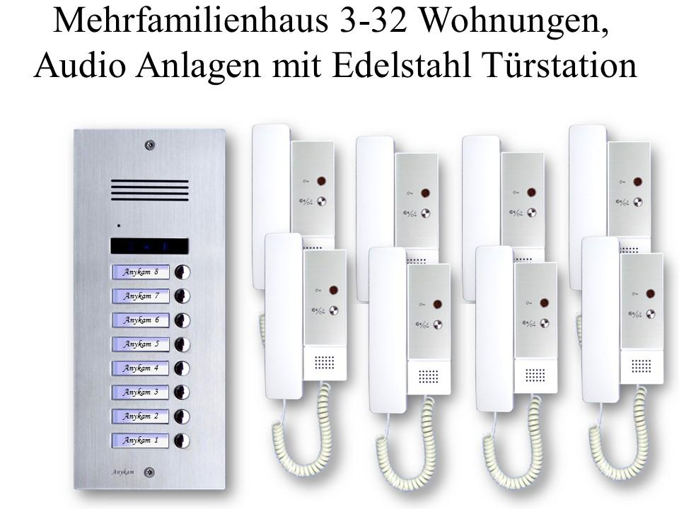 Audio Gegensprechanlagen 2-draht Mehrfamilienhaus mit Edelstahl Klingel