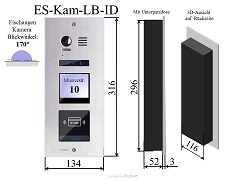 ES-Kam-LB-ID Edelstahl Aussenstation mit Kamera und RFID f Video Türsprechanlage