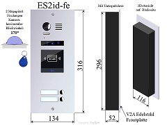 ES2ID Edelstahl Aussenstation mit RFID f Video Türsprechanlage