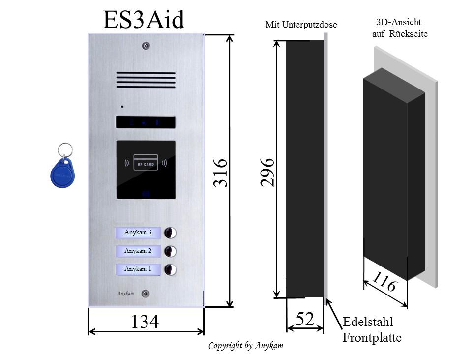 Klingelstation ES3-A-ID für Design  Türsprechanlage für Mehrfamilienhaus Gegensprechanlage mit Bustechnik Klingelanlage Interfon mit 2-Draht Technik
