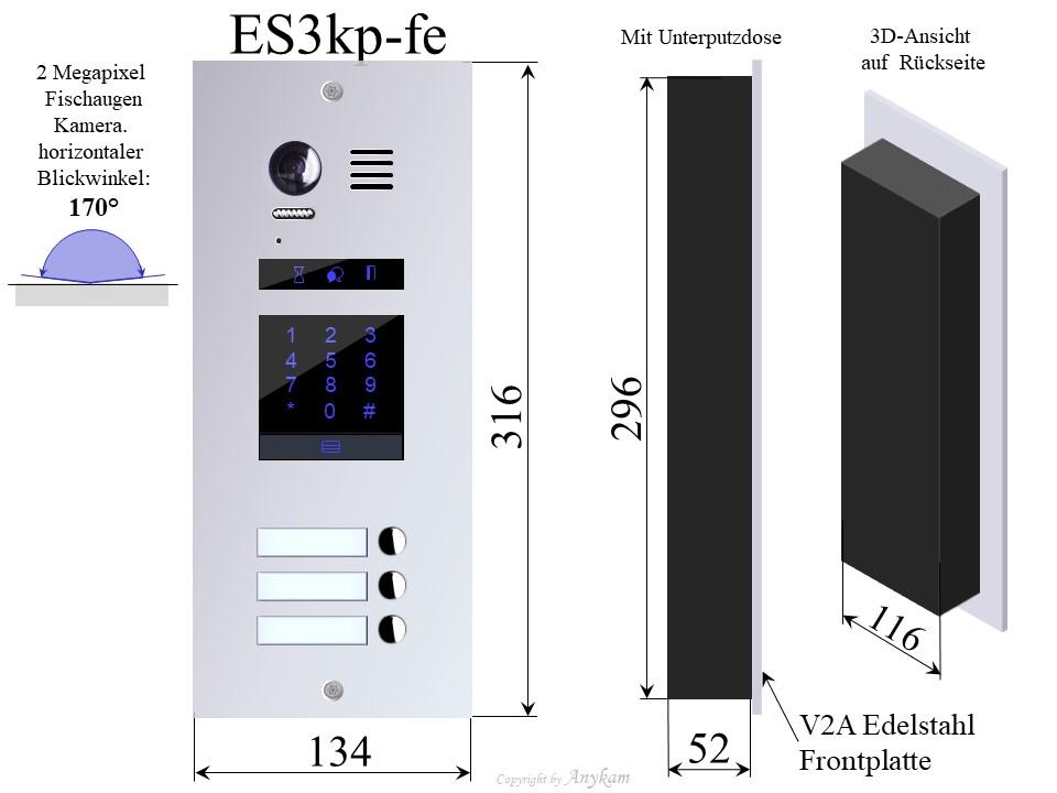 Design Edelstahl Türstation 3-Familienhaus Farb Video Türsprechanlage für Mehrfamilienhaus Videosprechanlage Gegensprechanlage Klingelanlage Interfon mit 2-Draht Technik