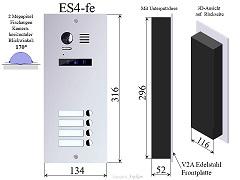 ES4 Edelstahl Aussenstation f Video Türsprechanlage
