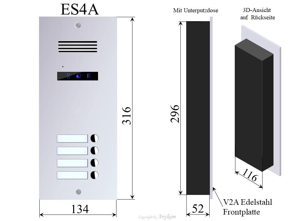 Aussenstation 3-Familienhaus Edelstahl Gegensprechanlage Mehrfamilienhaus mit 2-draht-Technik