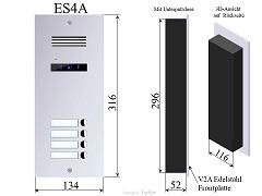 ES4A Edelstahl Türstation 2-Draht Türsprechanlage 4-Familienhaus