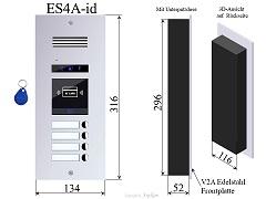 ES4A-ID Edelstahl Aussenstation mit RFID für 2-Draht Türsprechanlagen