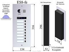 ES8 Edelstahl Aussenstation für Video Türsprechanlage