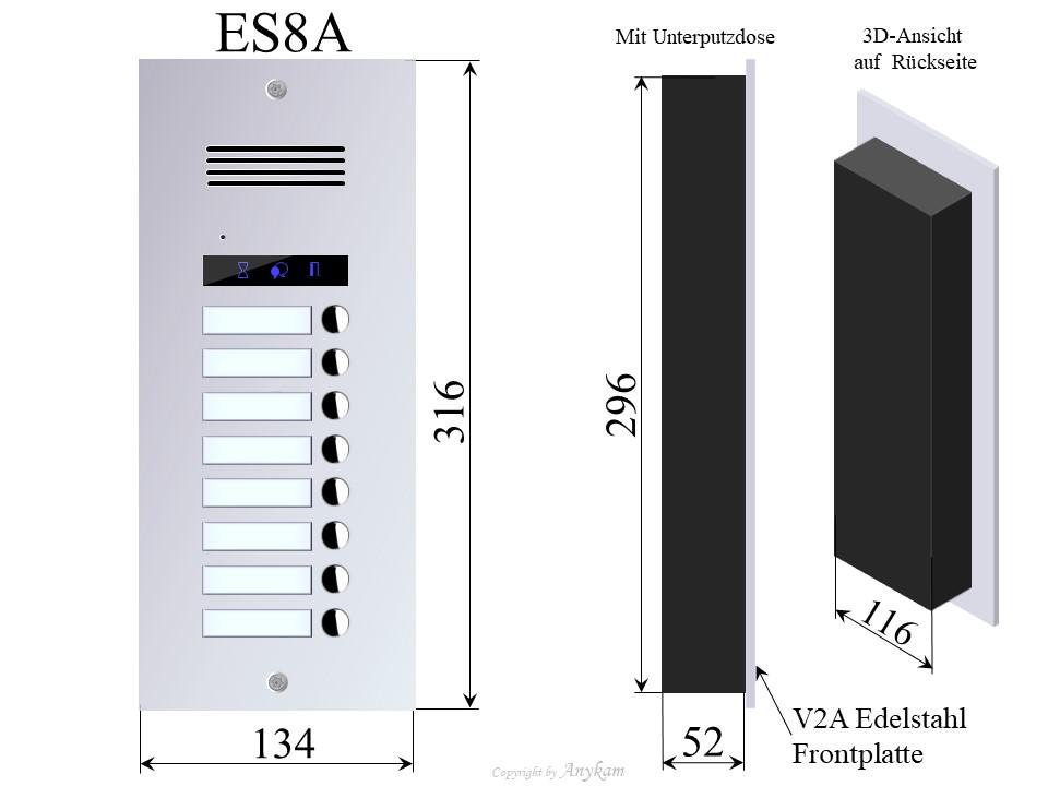 Aussenstation Edelstahl Gegensprechanlage Mehrfamilienhaus mit 2-draht-Technik