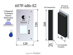 607F-idfe-S2 Fischaugenkamera Türstation Edelstahl, Unterputz