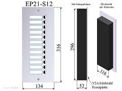 EP21-S12 Edelstahl Türstation 2-Draht Türsprechanlage Erweiterungspaneel