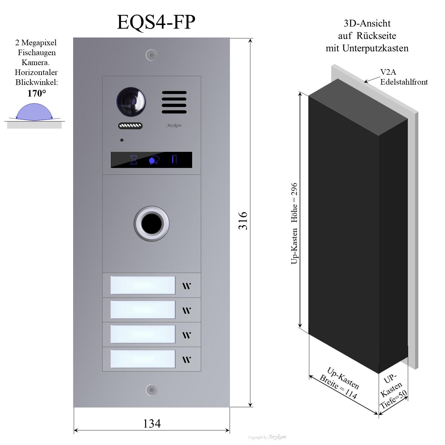 Design Farb Video Aussenstation mit Fingerprint für 4-Familienhaus Videosprechanlage Gegensprechanlage Klingelanlage Interfon mit 2-Draht Technik