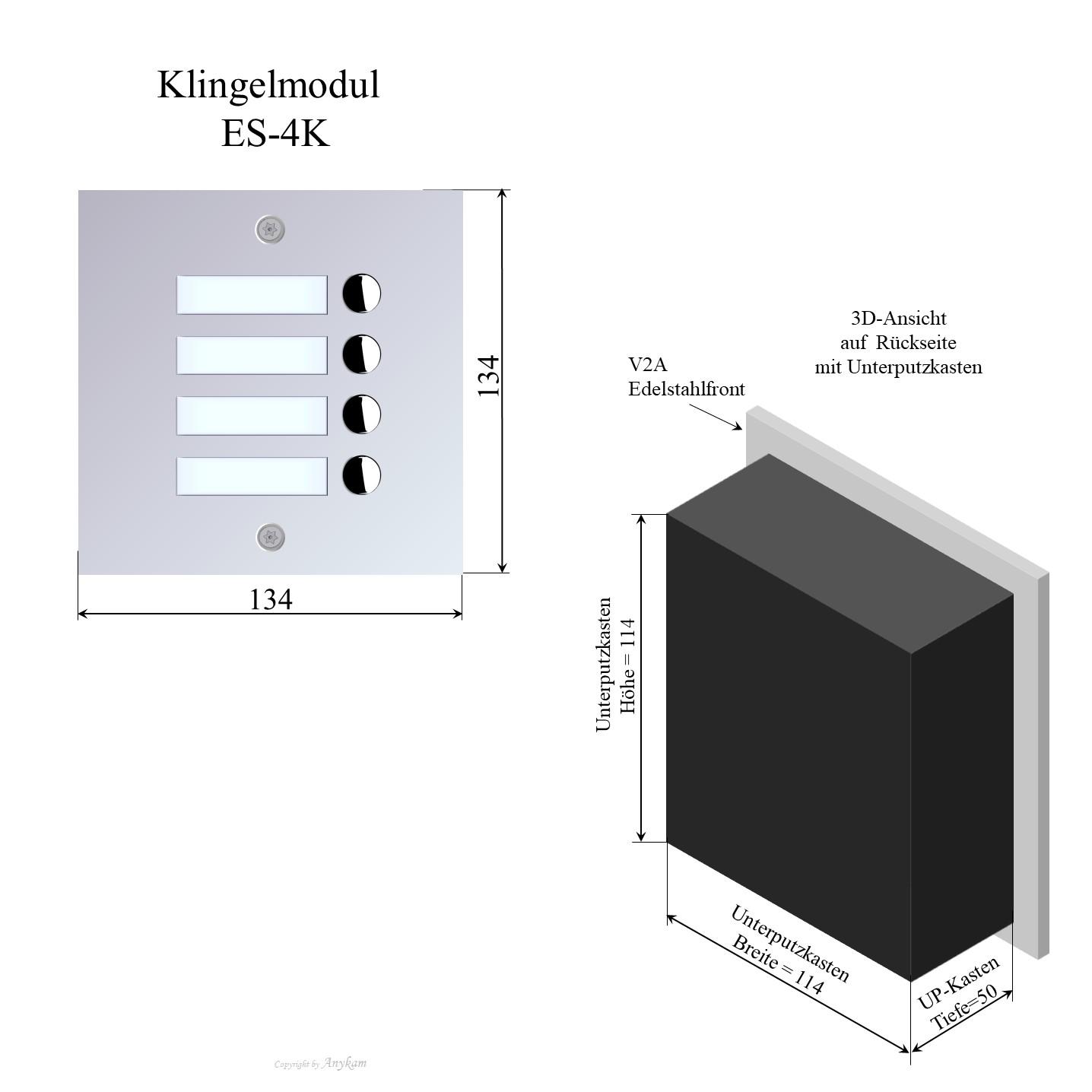 Aussenstation Edelstahl Video Gegensprechanlage Mehrfamilienhaus mit 2-draht-Technik, Klingelmodul  für Briefkasteneinbau oder andere Varianten