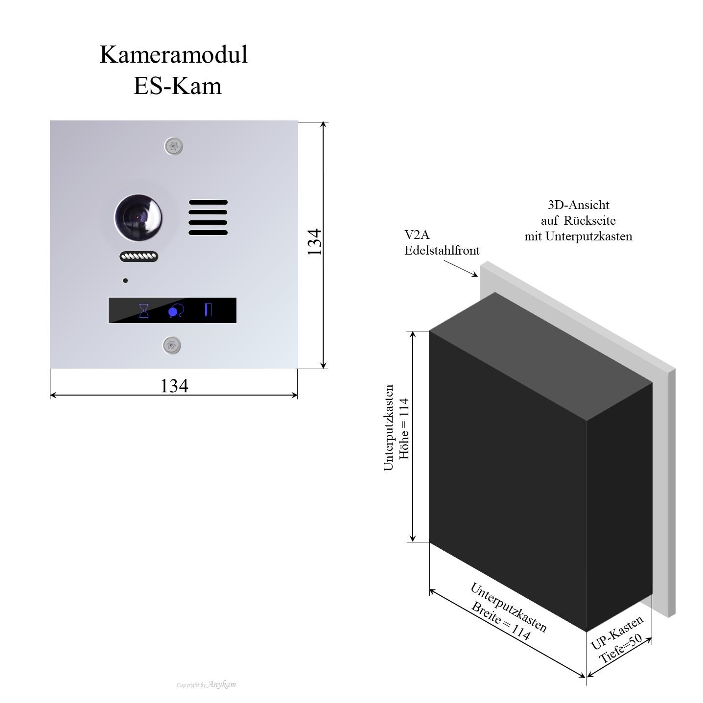 Aussenstation Edelstahl Video Gegensprechanlage Mehrfamilienhaus mit 2-draht-Technik, Hauptmodul mit Farbkamera für Briefkasteneinbau oder andere Varianten