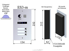 ES3m Edelstahl Aussenstation f Video Türsprechanlage 3-Familienhaus