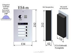 ES4m Edelstahl Aussenstation f Video Türsprechanlage 4-Familienhaus