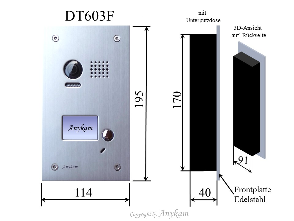 dt603 dt27w videosprechanlage t ranlage video gegensprechanlage 2 draht. Black Bedroom Furniture Sets. Home Design Ideas