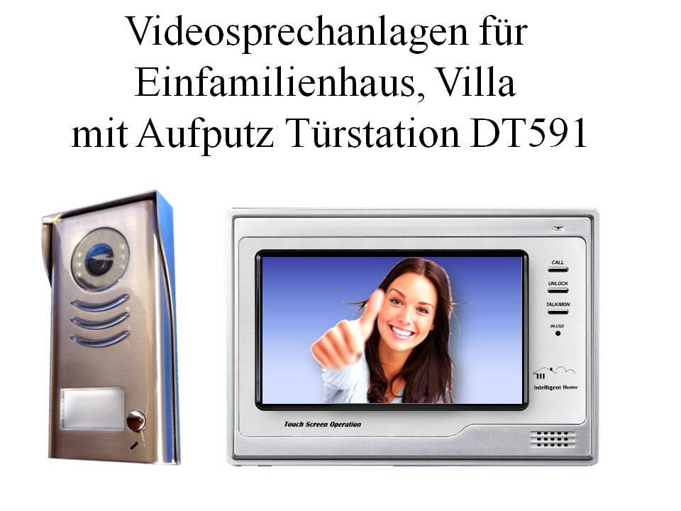Farb Videosprechanlagen zweidraht Einfamilienhaus Türklingel Aufputz DT591