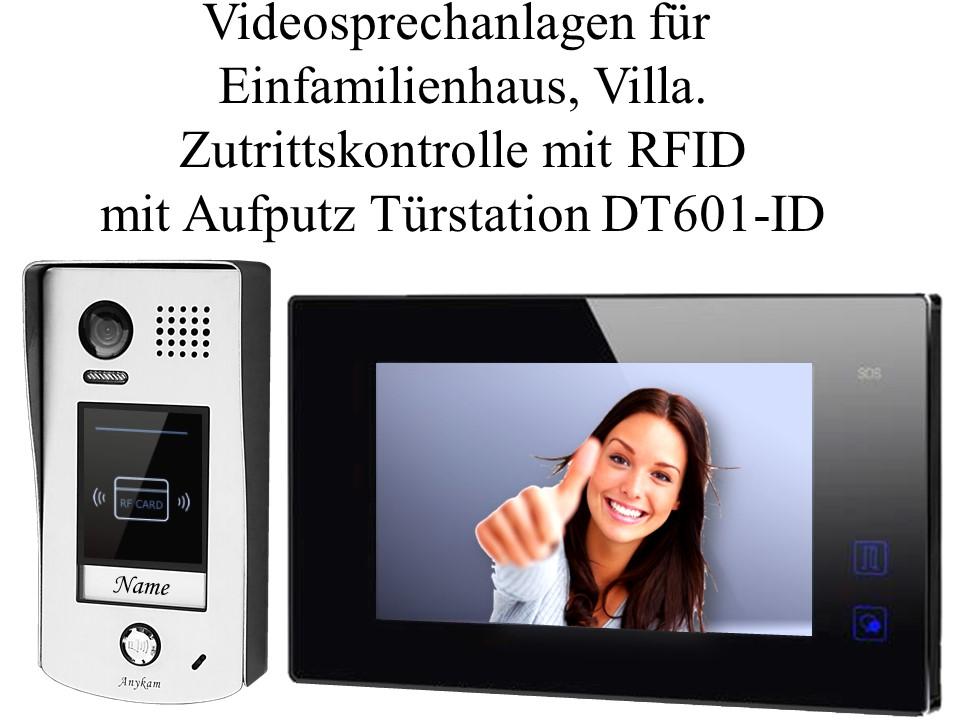 Video gegensprechanlage Zutrittskontrolle Türöffner mit RFID, Aufputzmontage DT601-id