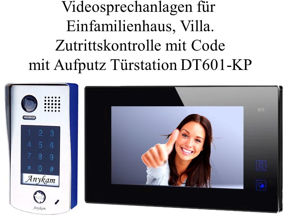 Video Türsprechanlagen 2draht Zutrittskontrolle Türöffnung mit Code Aufputz Türstation DT601-KP-fe