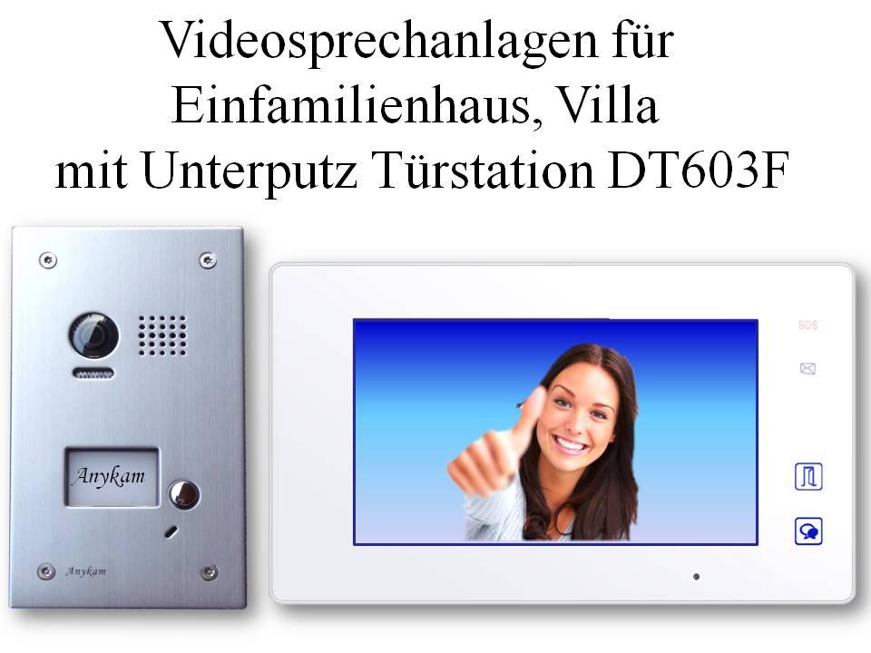 Edle Farb Video Türsprechanlagen 2-Draht Edelstahl Türstation Unterputz DT603