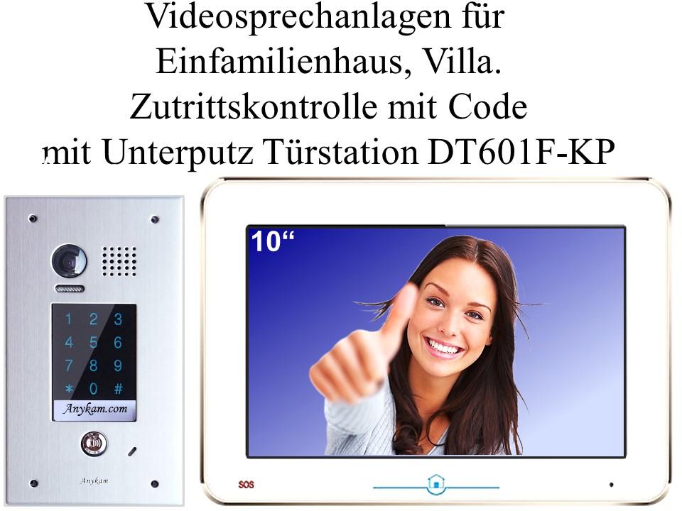 Video Türsprechanlagen 2draht Zutrittskontrolle mit Code Unterputz Türstation DT601F-kp-fe