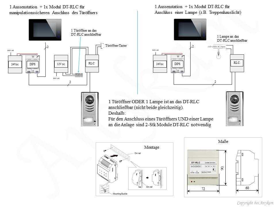 Anschluss des Moduls RLC für Manipulationssicherheit am Tür- Schloss und für Licht für 2-Draht Video Türsprechanlage