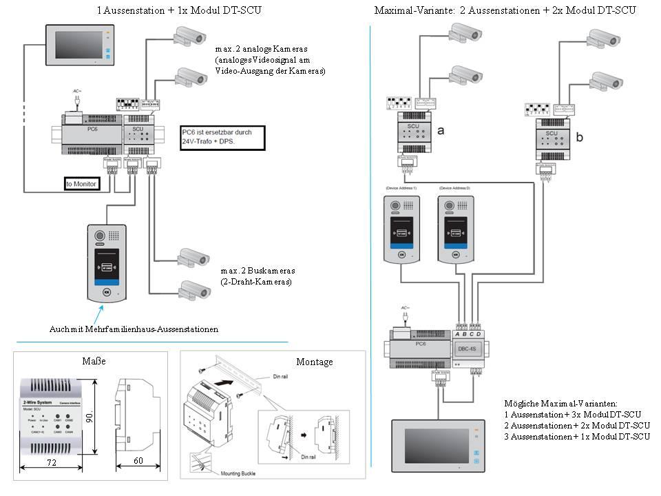 Anschlussplan DT-SCU für Anschluss von zusätzlichen Überwachungskameras an Video Türsprechanalge Videosprechanlage Gegensprechanlage von Anykam