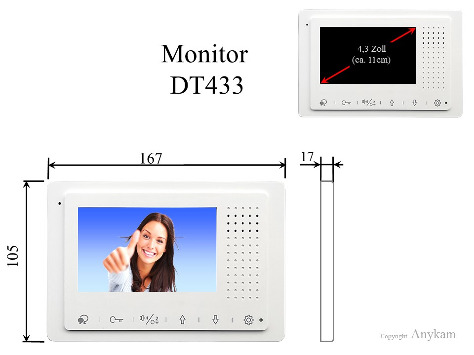 Innenstation Monitor der Videosprechanlage mit 2Draht Technik