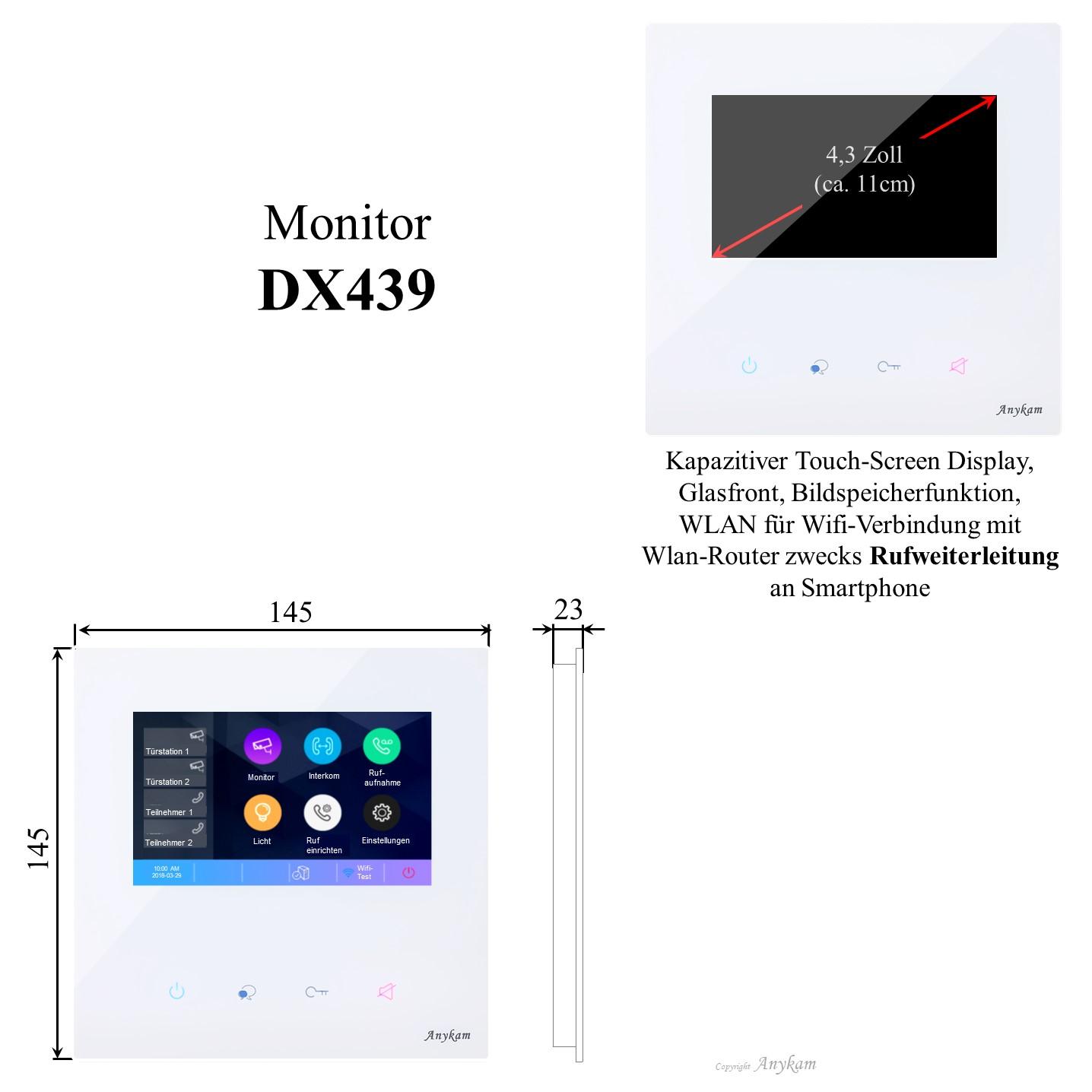 Innenstation Monitor DT439 DX439 der Videosprechanlage mit 2Draht Technik