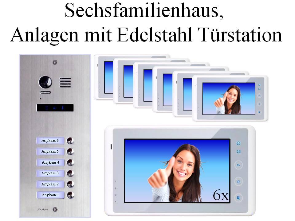 Video Klingelanlagen mit Kamera 2-draht 6-familienhaus mit UNterputz Edelstahl Klingel