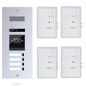 ES4AID+ 4xDJ7A Gegensprechanlage RFID Türsprechanlage Klingel 4Familienhaus 2Draht
