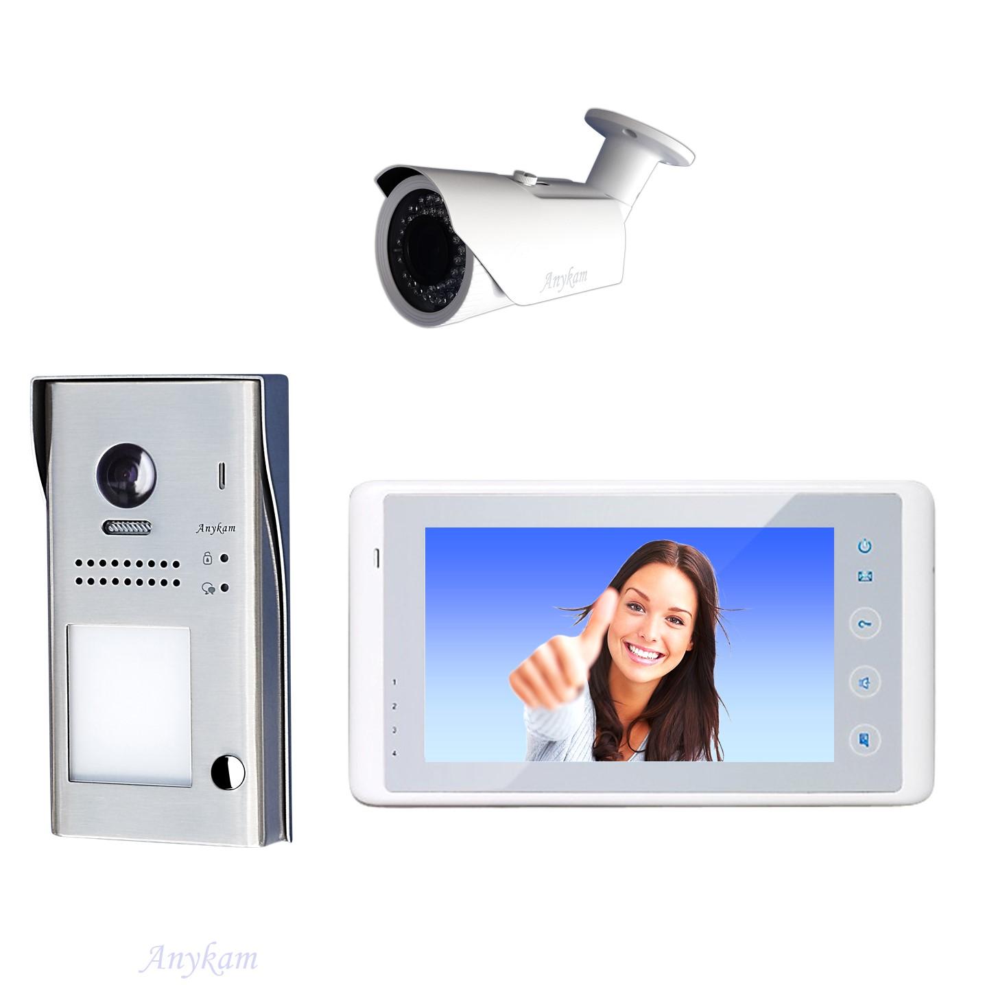 Design Farb Video Türsprechanalge Videosprechanlage Gegensprechanlage Klingelanalge Interfon mit 2-Draht Technik