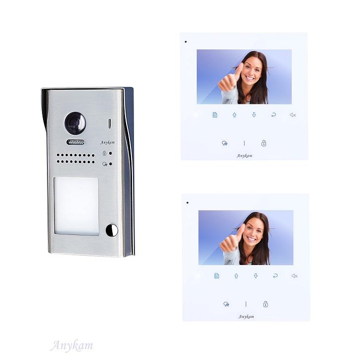 video t r sprechanlage klingelanlage fischaugen kamera 2 draht bus 607s1 2x dt43 ebay. Black Bedroom Furniture Sets. Home Design Ideas