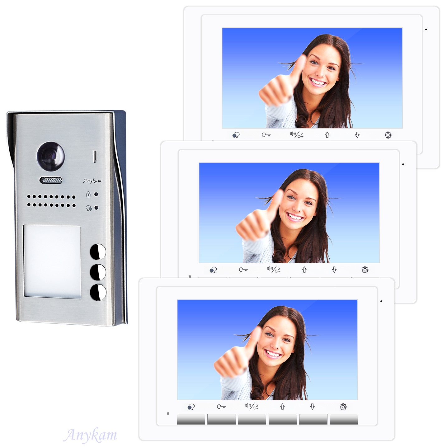 Video Türsprechanlage Dreifamilienhaus Videosprechanlage Gegensprechanlage Klingelanlage Interfon mit 2-Draht Technik