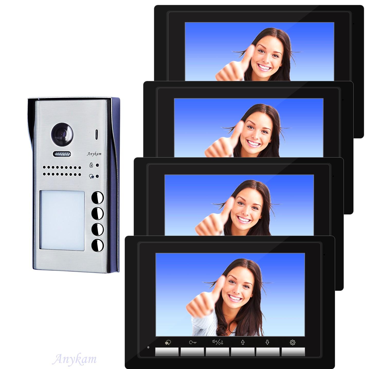 Video Türsprechanlage Vierfamilienhaus Videosprechanlage Gegensprechanlage Klingelanlage Interfon mit 2-Draht Technik