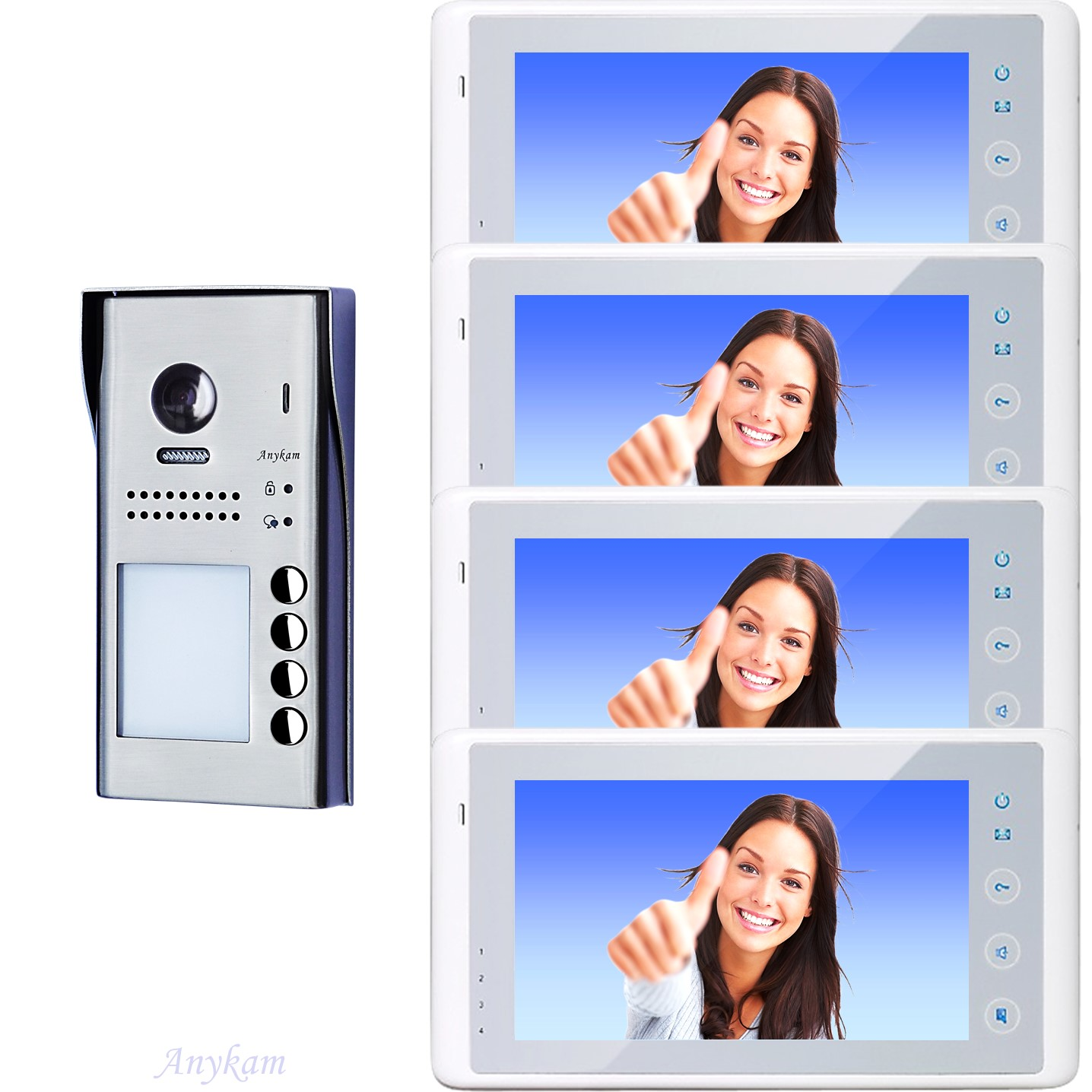 607idfes4 4x 27w video t rsprechanlage videosprechanlage 4 familienhaus 2draht. Black Bedroom Furniture Sets. Home Design Ideas