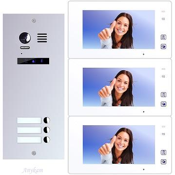 ES3+ DT47M-W Video Türsprechanlage Videosprechanlage 3-Familienhaus 2Draht