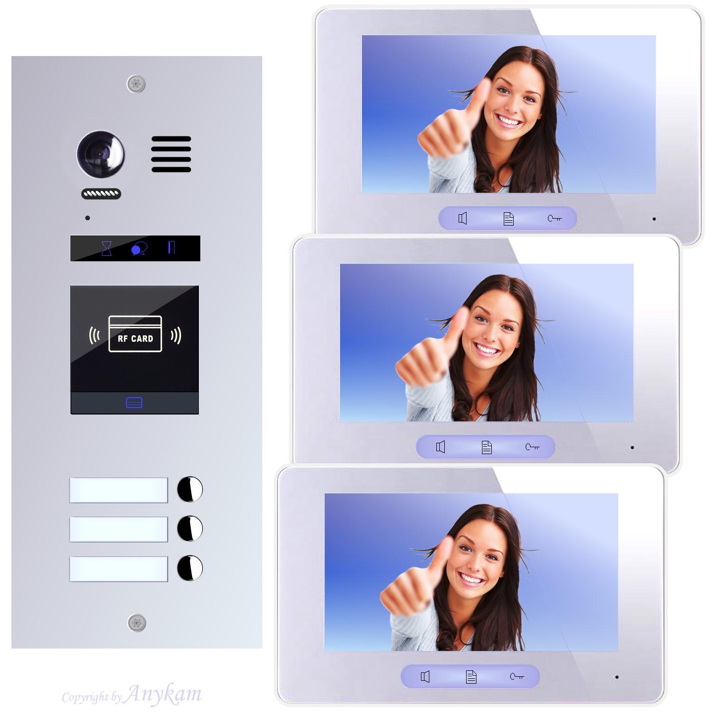 Design Farb Video Türsprechanlage für Mehrfamilienhaus Videosprechanlage Gegensprechanlage Klingelanlage mit Kamera und RFID Zutrittskontrolle Interfon mit 2-Draht Technik